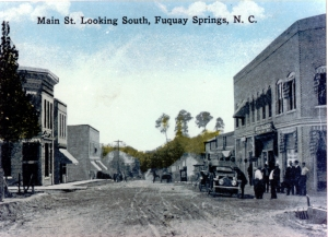 Old Fuquay Springs postcard. This would have been facing south on Main Street. Fuquay Springs, NC